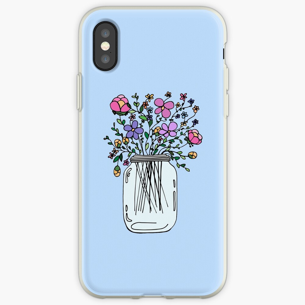 Mason Jar with Flowers iPhone Cases & Covers