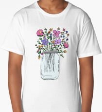 Mason Jar with Flowers Long T-Shirt