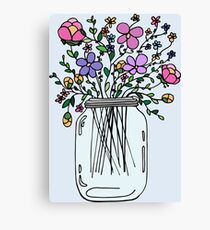 Mason Jar with Flowers Canvas Print