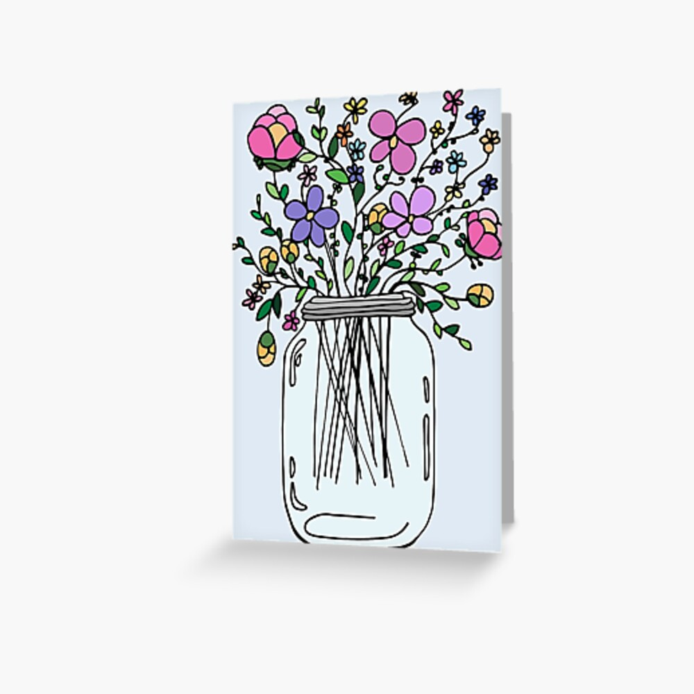 """mason jar with flowers"" greeting cardmlleruta  redbubble"