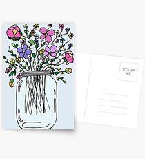 Mason Jar with Flowers Postcards