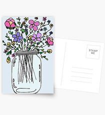 Mason Jar with Flowers Postcards