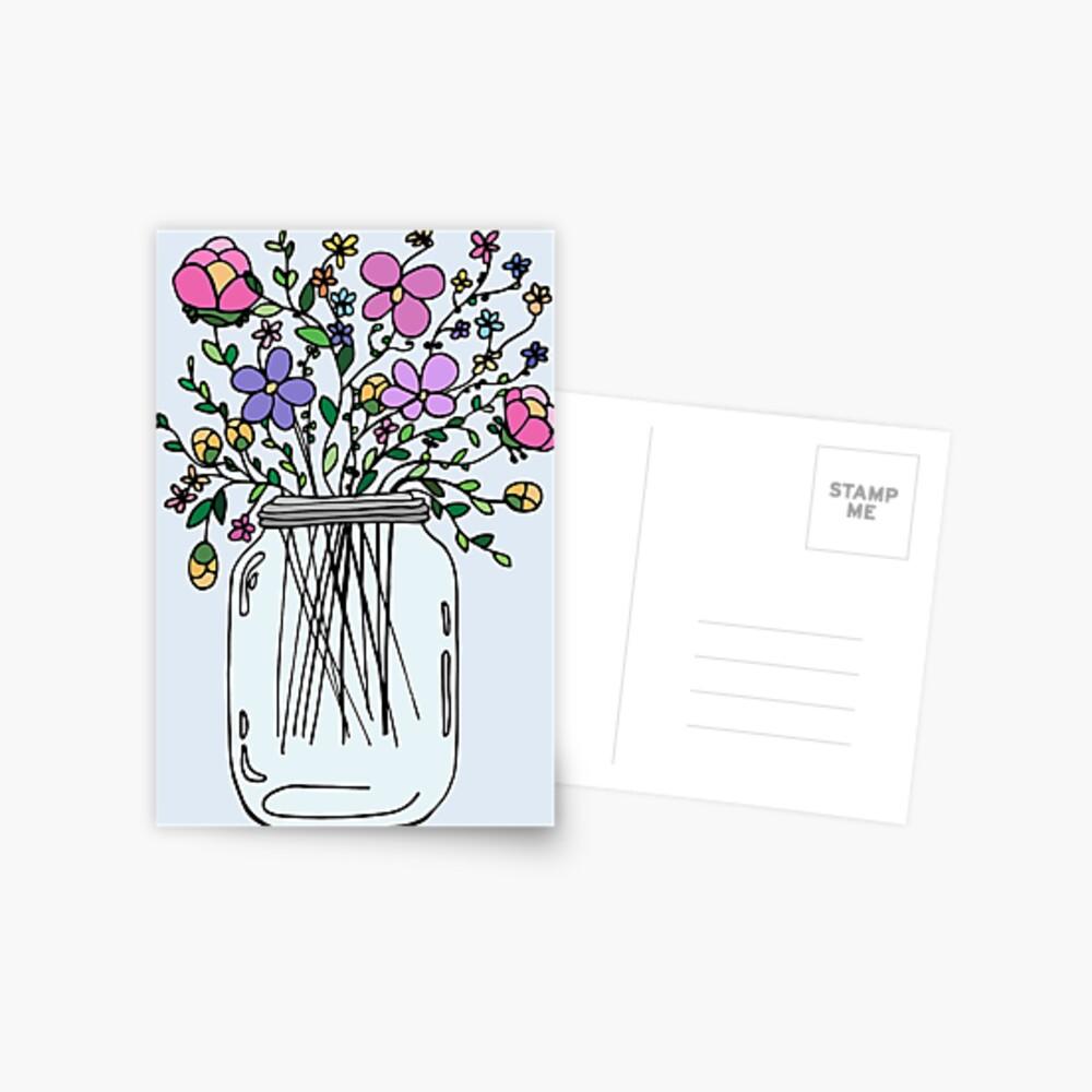 Mason Jar with Flowers Postcard