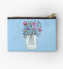Mason Jar with Flowers Studio Pouch