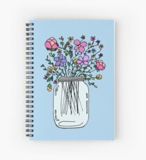 Mason Jar with Flowers Spiral Notebook