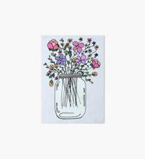 Mason Jar with Flowers Art Board