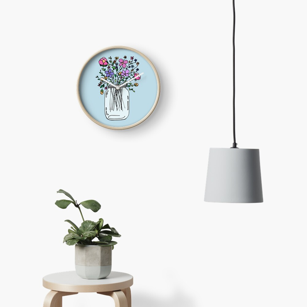 Mason Jar with Flowers Clock