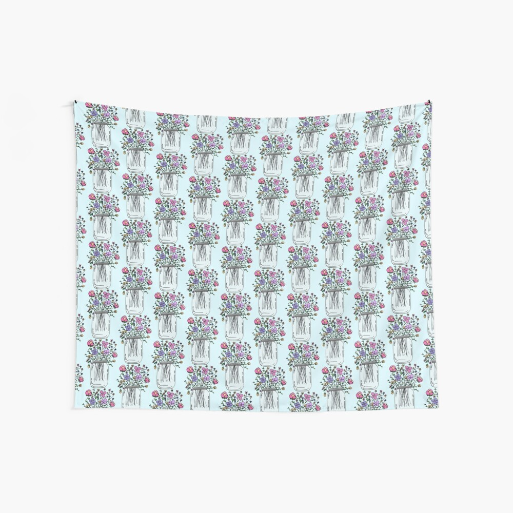 Mason Jar with Flowers Wall Tapestry