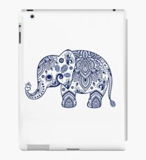 Blue Floral Elephant Illustration iPad Case/Skin