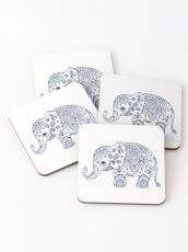 Blue Floral Elephant Illustration Coasters
