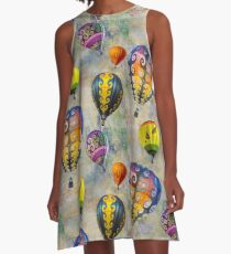 Fractal Balloons floating in a textured grey sky A-Line Dress