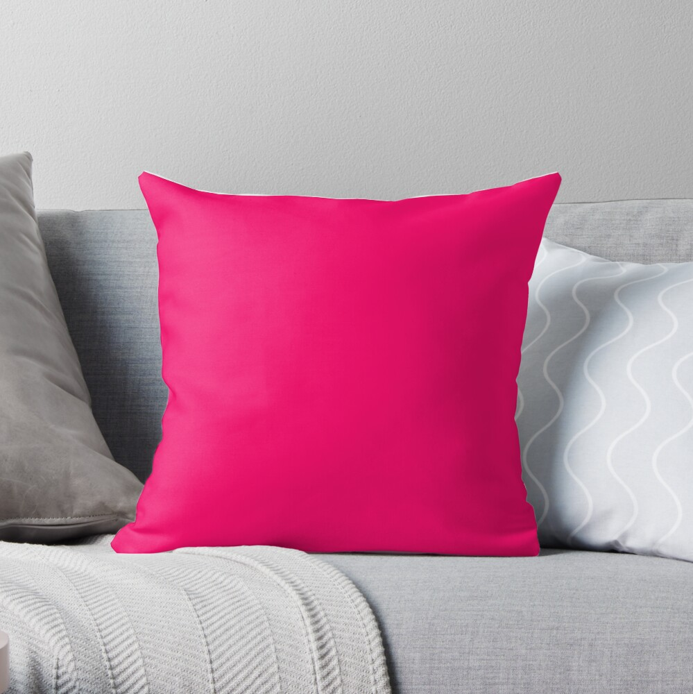 Super Bright Fluorescent Pink Neon Throw Pillow