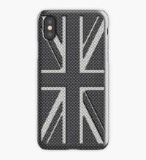 UK Flag Union Jack in Carbon Fiber White on Black iPhone Case/Skin