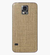 Natürlicher gesponnener beige Leinwand-Sack-Stoff Hülle & Klebefolie für Samsung Galaxy