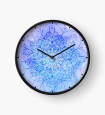 Blue Watercolor Mandala Clock