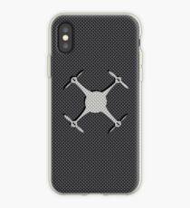Vinilo o funda para iPhone Quadcopter Drone en negro y gris patrón de fibra de carbono