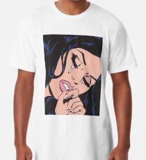 Camiseta larga Chica cómica que llora del pelo negro