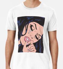 Schwarzes Haar weinendes komisches Mädchen Männer Premium T-Shirts
