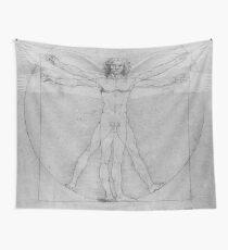 Leonardo da Vinci Vitruvian Man Pen on Paper with Angel Wings Wall Tapestry