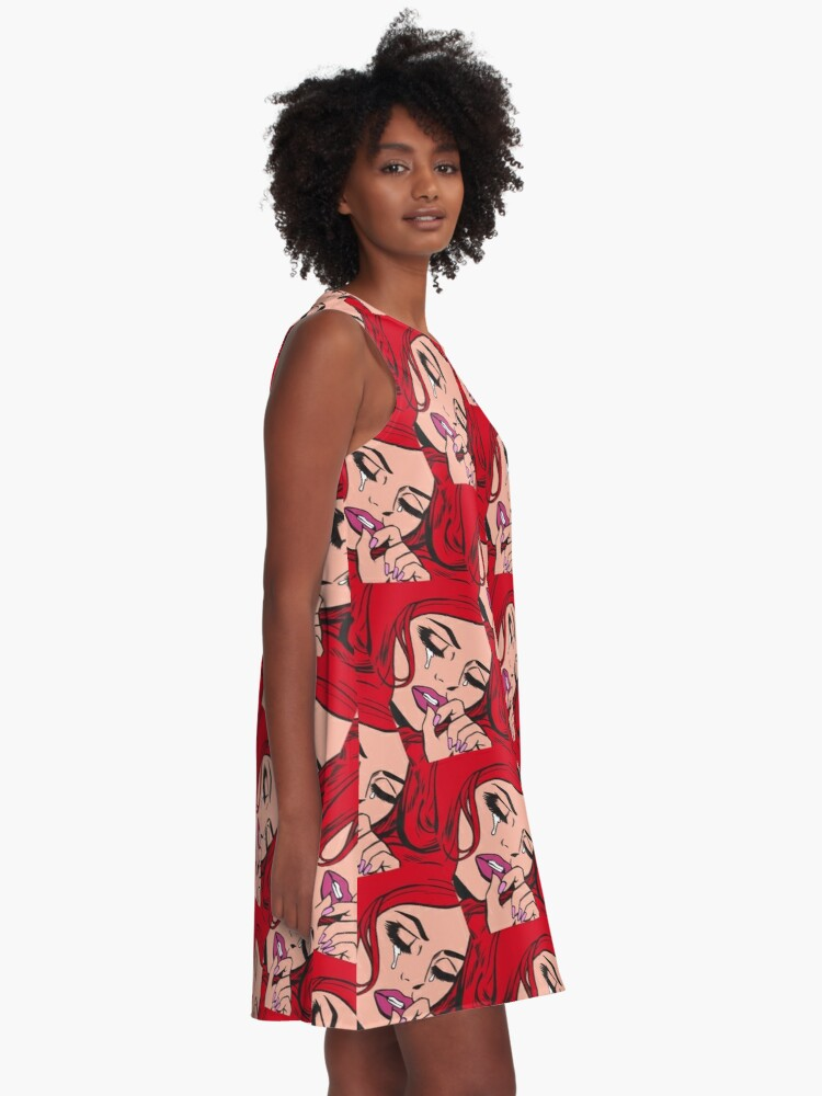 Alternate view of Red Hair Crying Comic Girl A-Line Dress