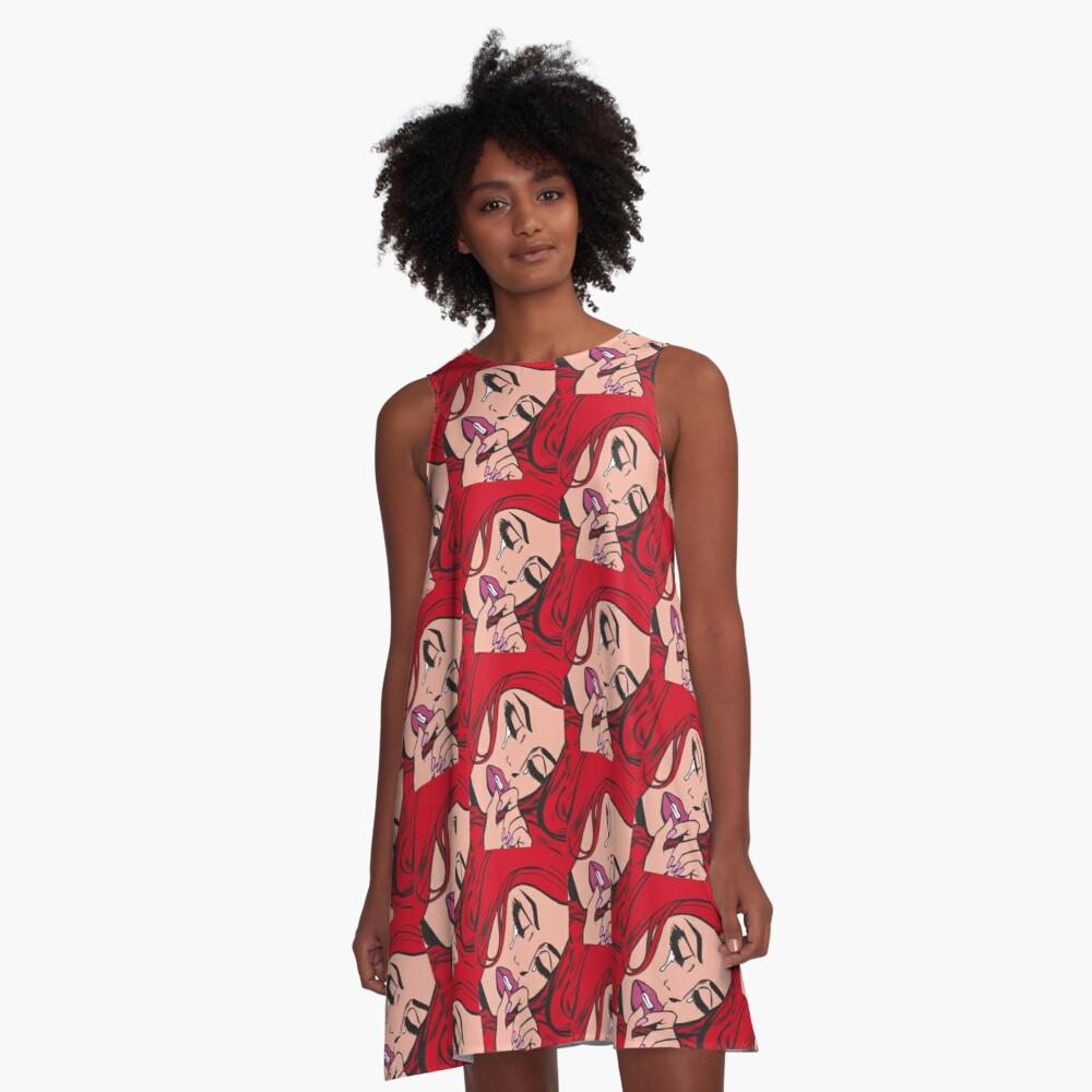 Red Hair Crying Comic Girl A-Line Dress