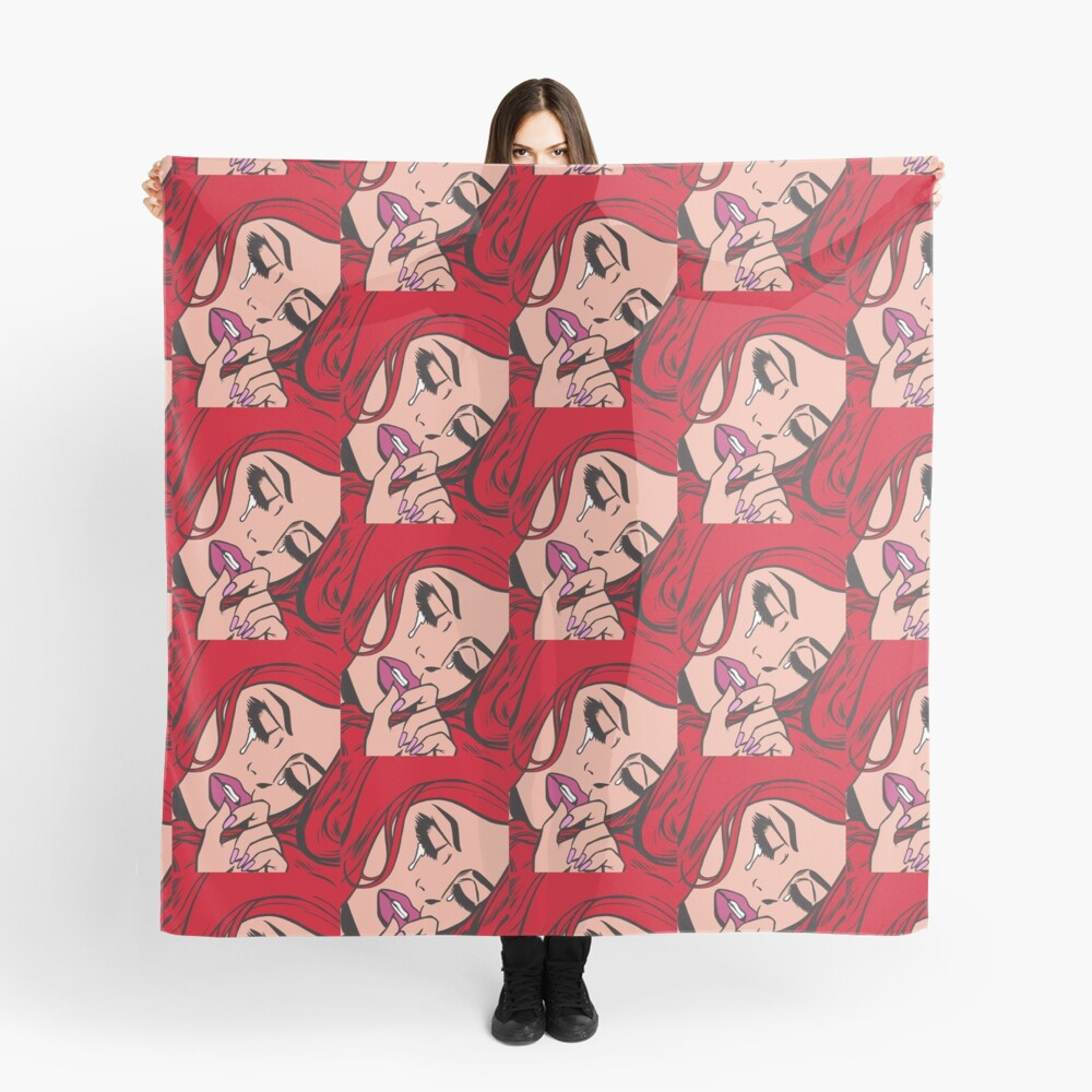 Red Hair Crying Comic Girl Scarf
