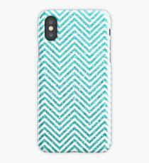 Tiffany Aqua Blue Glitter and White Chevron iPhone Case/Skin