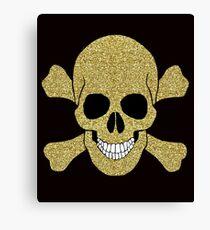 Faux Gold Glitter Skull And Crossbones Canvas Print
