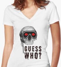 Skull - Guess Who? Women's Fitted V-Neck T-Shirt