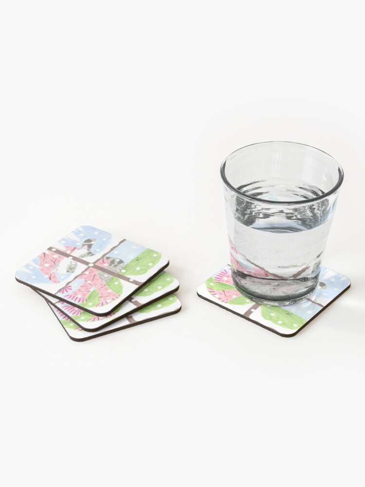 Alternate view of Tabby cat looking out the window Coasters (Set of 4)