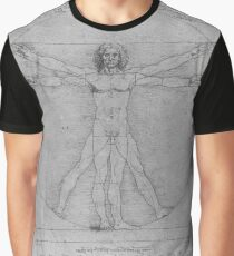 Leonardo da Vinci Study of Vitruvian Man Life Study of Perfect Proportionality Graphic T-Shirt