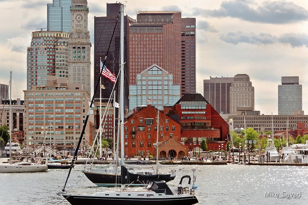 City - Boston Ma - Harbor walk skyline by Michael Savad