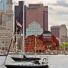 City - Boston Ma - Harbor walk skyline by Michael Savad