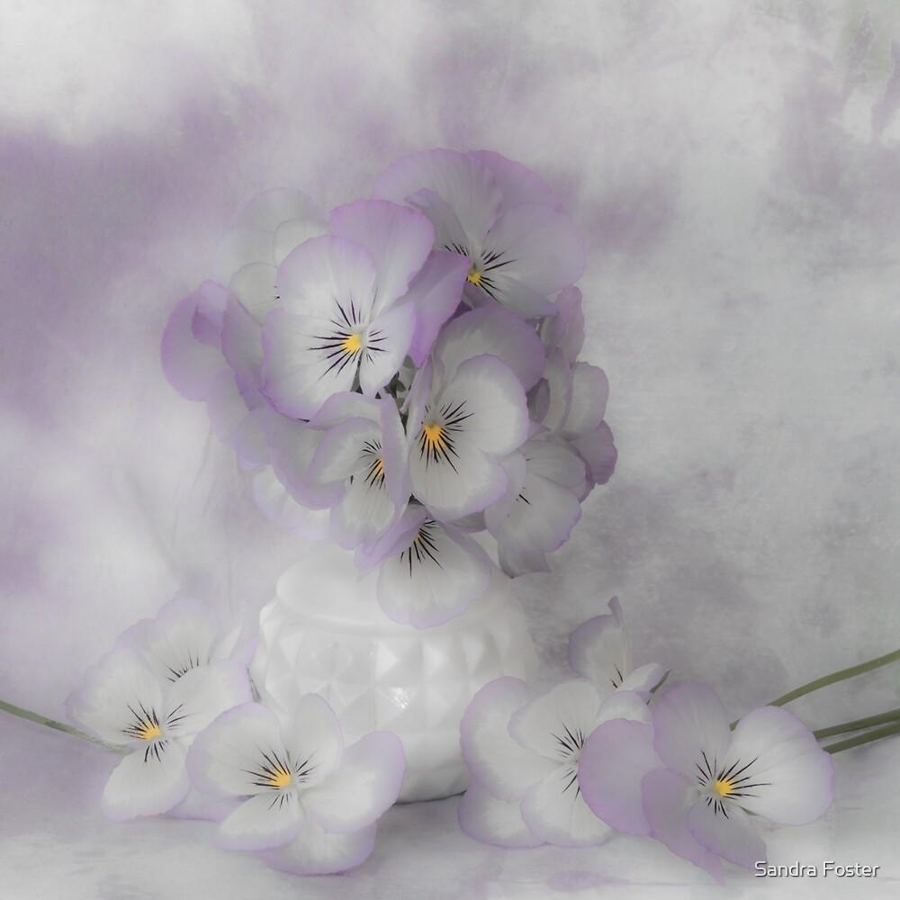 Pastel Pansies Still Life by Sandra Foster
