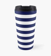 Classic Navy Blue and White Large Horizontal Cabana Tent Stripe Travel Mug