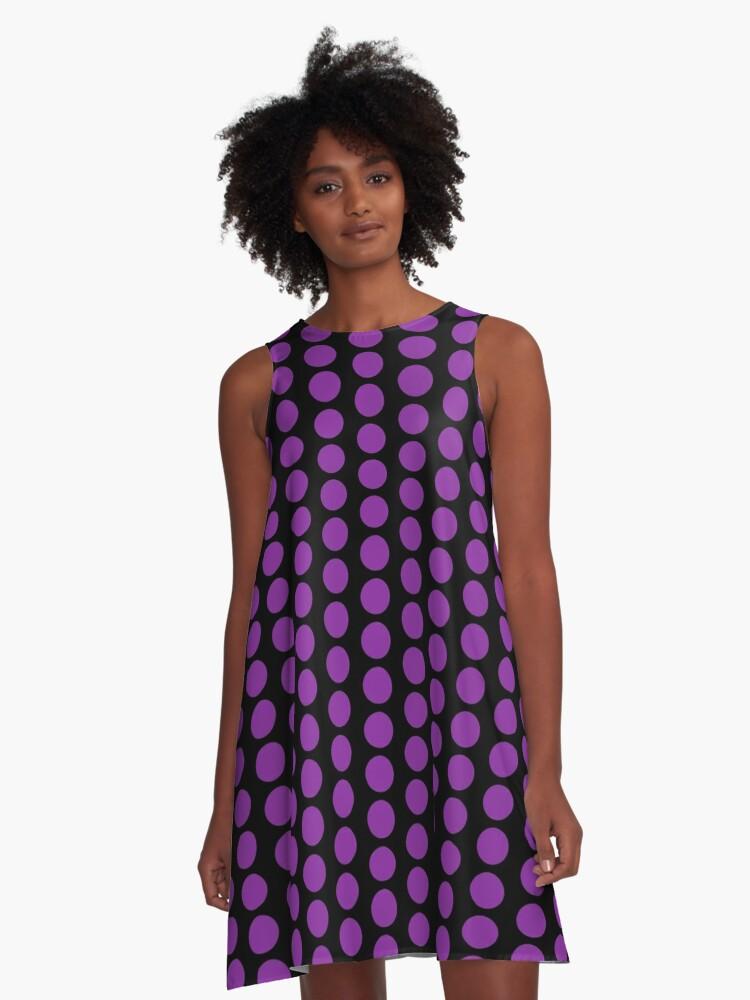 Purple Favorite Color Ball Polka Dot Duvet Cover A-Line Dress Front