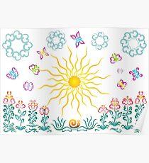The sun, butterflies, flowers Poster