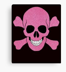 Faux Pink Glitter Skull And Crossbones Canvas Print