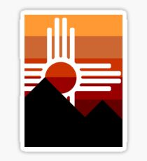 minimalist zia mountain sunset Sticker