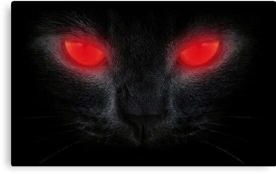 """Black Cat With Pink Scary Eyes: """"Halloween Scary Black Cat Red Glowing Eyes"""" Canvas Prints"""