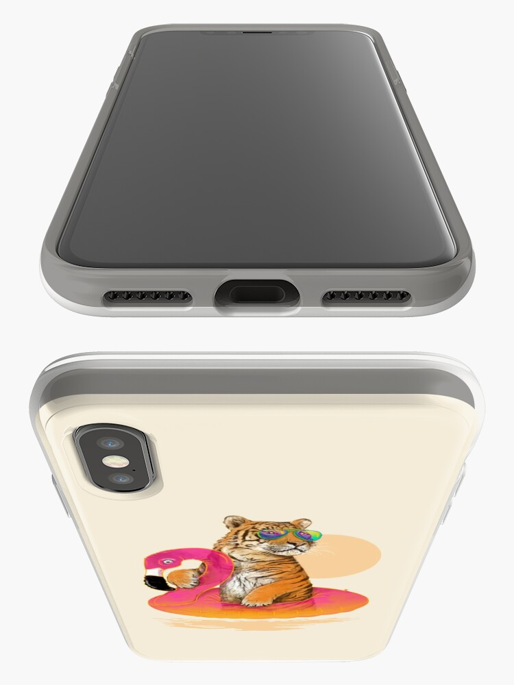 Alternate view of Chillin, Flamingo Tiger iPhone Cases & Covers