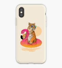 Chillin, Flamingo Tiger iPhone Case