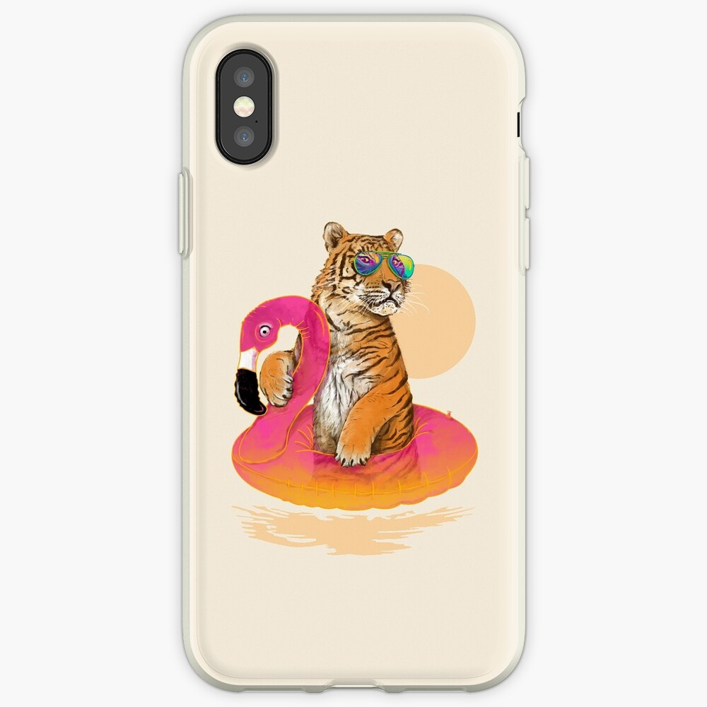 Chillin, Flamingo Tiger iPhone Cases & Covers