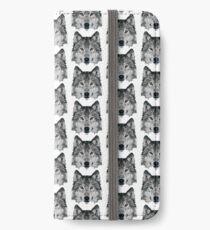 Kristalliner Wolf iPhone Flip-Case/Hülle/Klebefolie