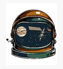 Space Suit Helmet Planets Satellites Deep Space Science Theme Photographic Print