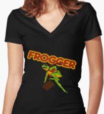 Frogger Cabinet Art Women's Fitted V-Neck T-Shirt