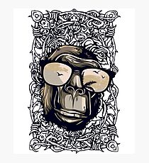 Hipster Ape Monkey Gorilla Tropical Theme Birds & Palms Design Photographic Print