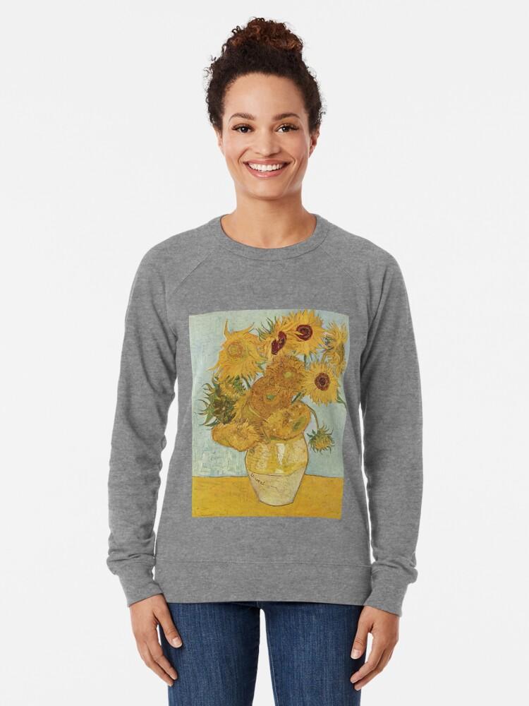 Alternative Ansicht von Vincent van Goghs Sonnenblumen Leichter Pullover