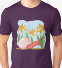 Snail in the Garden with Daffodils T-Shirt