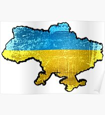 Ukraine Flag and Map Poster